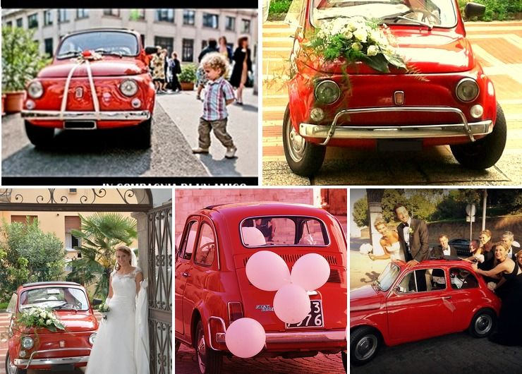FIAT 500 old vintage car wedding in tuscany italy