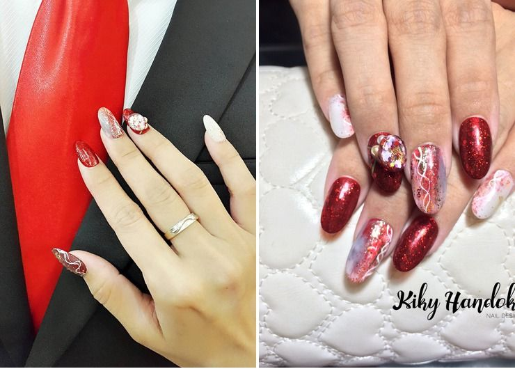 Red Vintage Engagement Nails for Ines