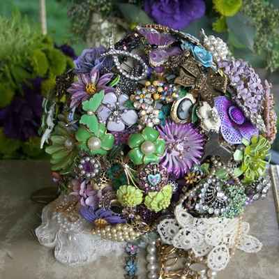 Vintage purple alternative wedding bouquet