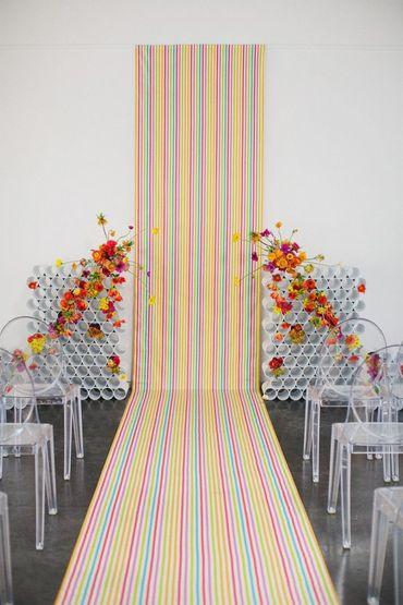 Autumn orange wedding ceremony decor