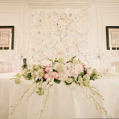 English pink wedding reception decor