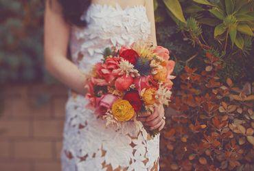 Autumn orange peony wedding bouquet