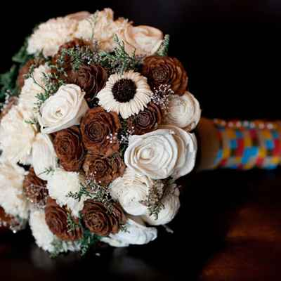 Winter brown rose wedding bouquet