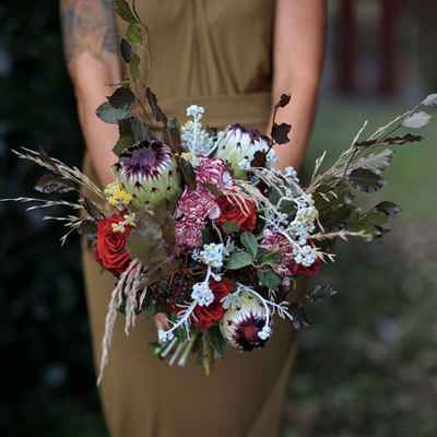 Rustic red rose wedding bouquet
