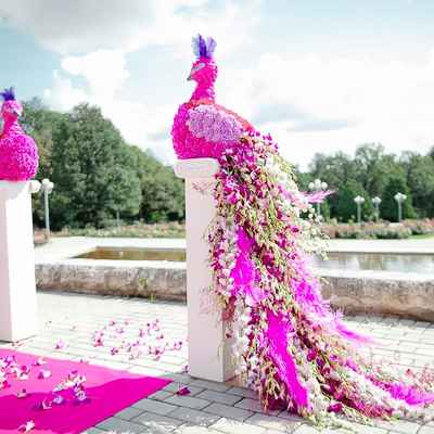 Summer pink wedding ceremony decor