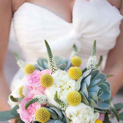 Yellow peony wedding bouquet