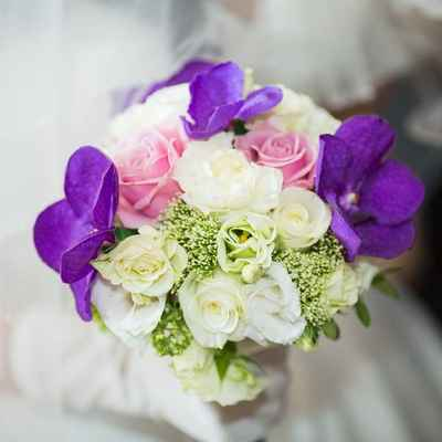 Purple eustoma wedding bouquet