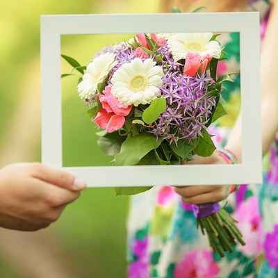 Purple gerbera wedding bouquet