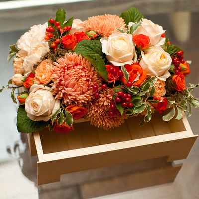 Autumn orange wedding reception decor