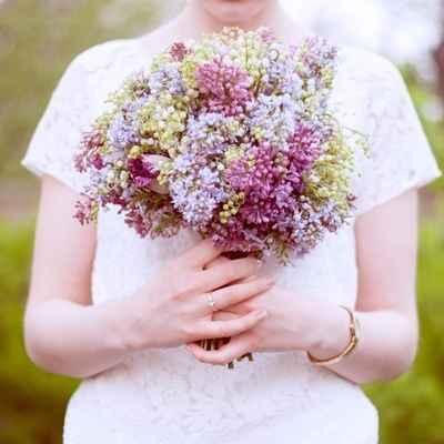 Spring purple lilac wedding bouquet
