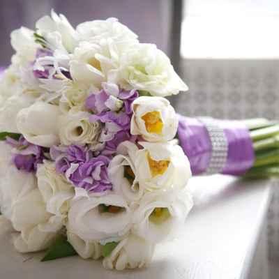 Purple tulip wedding bouquet