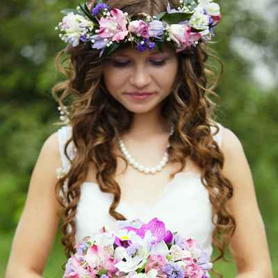 Rustic purple rose wedding bouquet