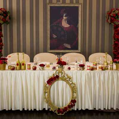 Mediterranean gold wedding reception decor
