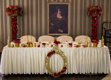 Mediterranean gold wedding reception decor