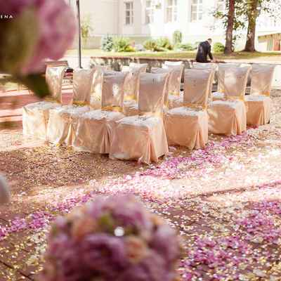 Ivory wedding ceremony decor