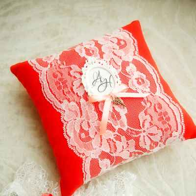 Red wedding ring pillows