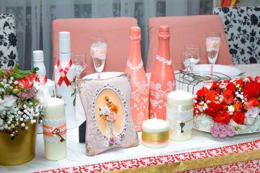 Pink wedding reception decor