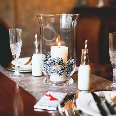 Winter wedding reception decor