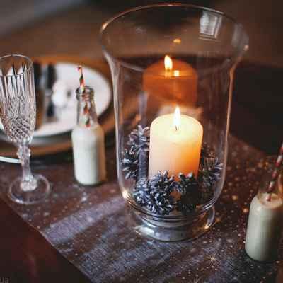 Winter brown wedding reception decor