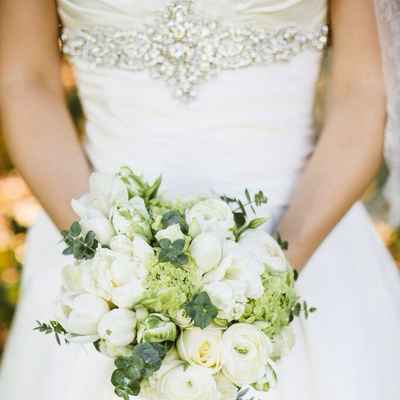 Green tulip wedding bouquet
