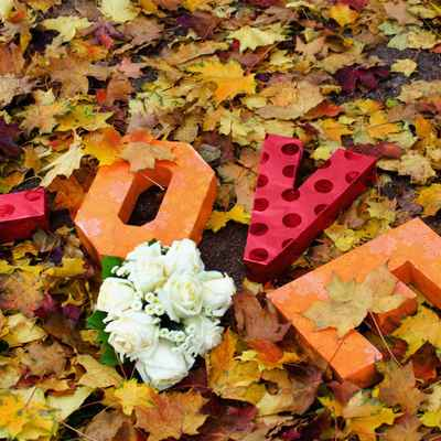 Autumn orange wedding signs