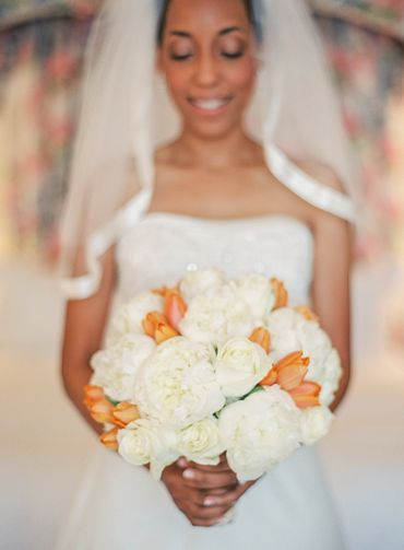Orange tulip wedding bouquet