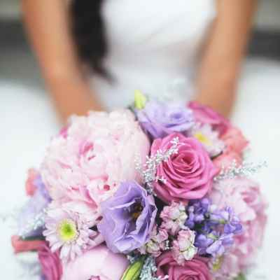 Purple rose wedding bouquet