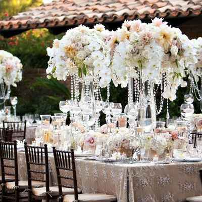 English ivory wedding reception decor