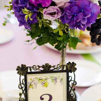 Mediterranean purple wedding signs