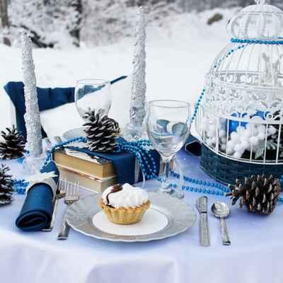 Winter blue photo session decor