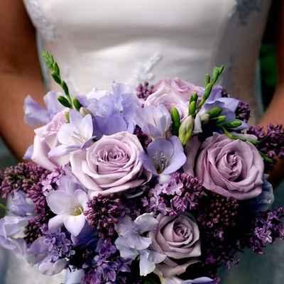 Spring purple friezes wedding bouquet