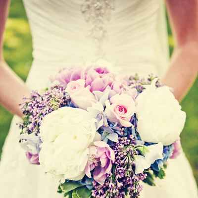 Spring pink peony wedding bouquet