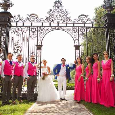 Pink wedding guests