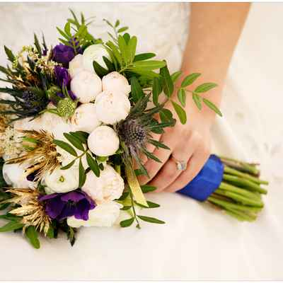 Purple anemone wedding bouquet