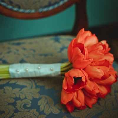 Spring red tulip wedding bouquet
