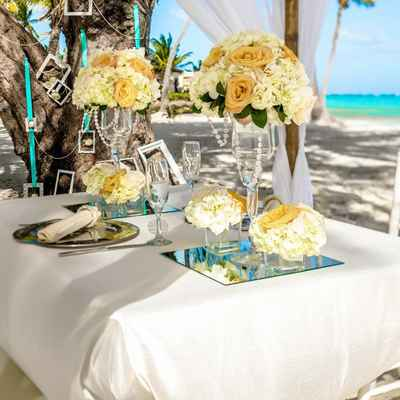 Beach yellow wedding reception decor