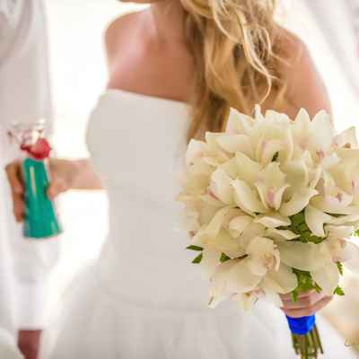 Beach ivory orchid wedding bouquet