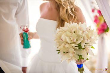 Beach ivory orchid wedding bouquet