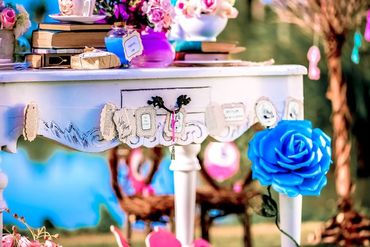 Themed pink wedding photo session decor