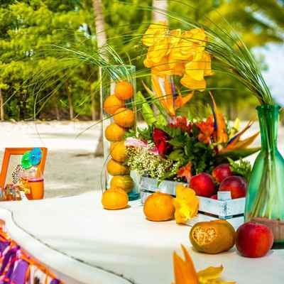 Beach orange wedding photo session decor