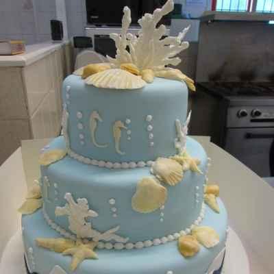 Marine blue wedding cakes