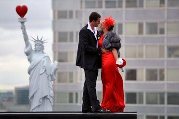 American red long wedding dresses