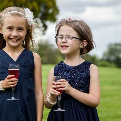 Blue kids at wedding