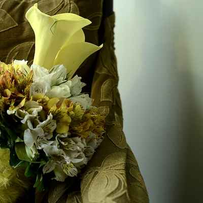 Orange calla wedding bouquet