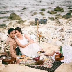 Beach wedding photo session decor