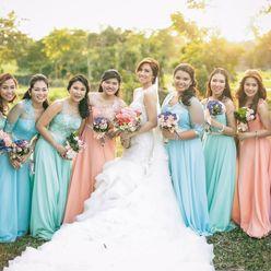 Outdoor brown bridesmaids