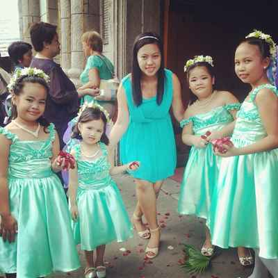 Green kids at wedding