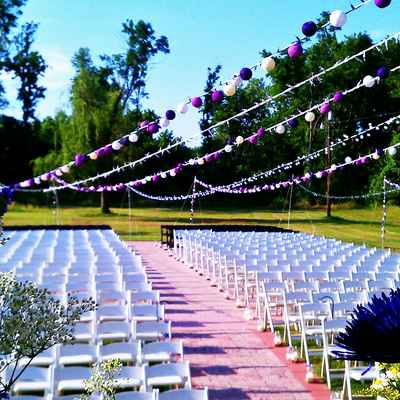 Pink wedding ceremony decor