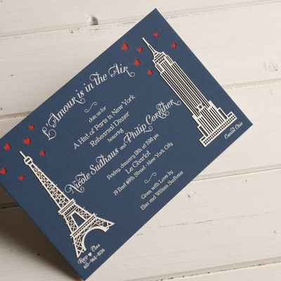 Themed blue wedding invitations