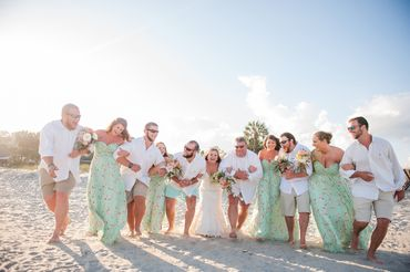 Beach white bridesmaids